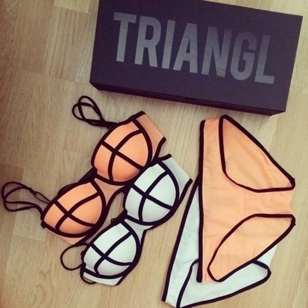 swimwear bikini orange push up bikini triangle bikini cute triangl padded beach colorful white beige pink pretty summer underwear
