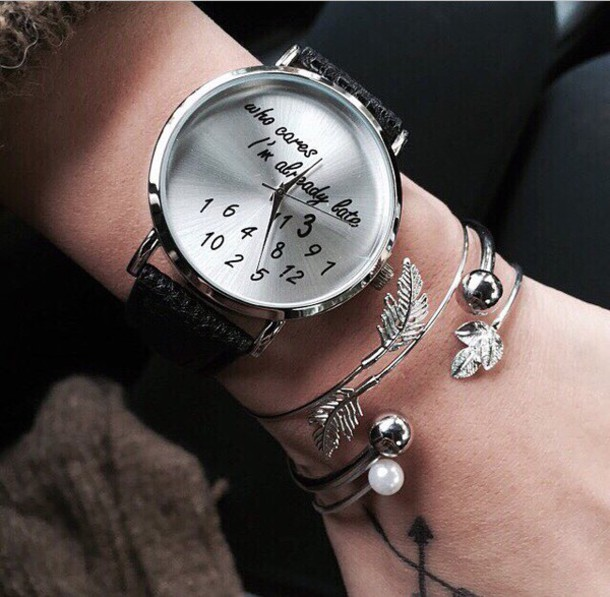 jewels jewelry silver bracelets leaf bracelet leaf print pearl watch quote on it silver watch style girly number belt cute watch qozmopolitangold india love nice fashion fashion week 2014 High waisted shorts black high waisted pants gold watch high waisted jeans