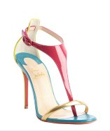Christian louboutin magenta and blue patent leather