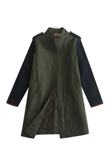 Stand Collar Color Contrast Quilted Coat [FEBK0328]- US$45.59 - PersunMall.com