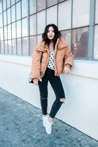 the fancy pants report blogger coat jeans shoes bag top fall outfits puffer jacket sneakers