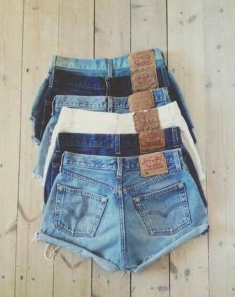 shorts white blue shorts high waisted denim shorts blue denim jeans sky blue