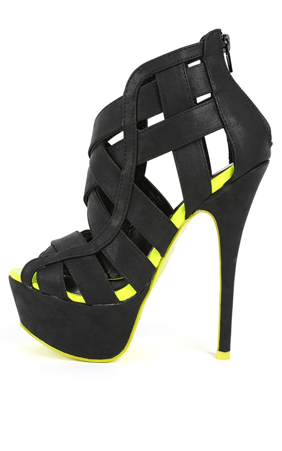 Black Neon Caged Strappy Sandal