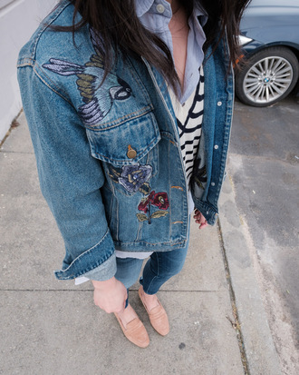 the fancy pants report blogger jacket jeans sweater shoes tumblr denim jacket denim embroidered jacket embroidered blue jeans skinny jeans flats loafers bag brown bag