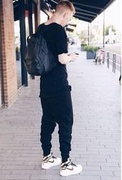bag,black,dark,black pants,black bag,leather,black leather,white,shoes,trainers,black t shirt,pants,t-shirt,ripped