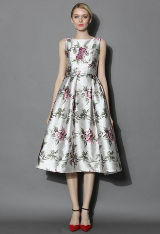 dress chciwish floral dress prom dress flowers printed dress pleated party dress summer dress spring dress chicwish.com