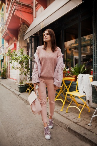 the bow-tie blogger jacket sweater jeans bag fall outfits winter outfits sneakers backpack pink jacket pink sweater all pink everything