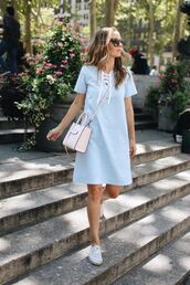 merrick's art // style + sewing for the everyday girl,blogger,dress,shoes,bag,sunglasses,nude bag,crossbody bag,lace up,lace up dress,short sleeve,blue dress,espadrilles,sneakers,flats,summer outfits,summer dress