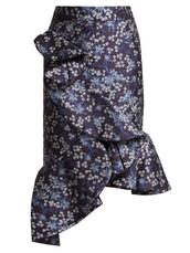 skirt,jacquard,floral,blue