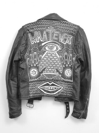 jacket black whatever illuminati black jacket leather leather jacket black leather black leather jacket white black and white cool vintage retro vintage jacket design art deco art