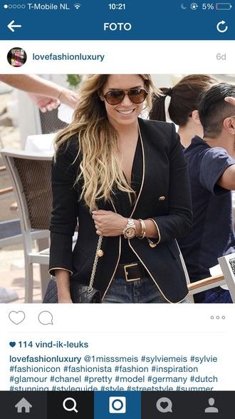 jacket sylvie meis sylvie van der vaart black blazer blazer gold summer summer outfits style rayban