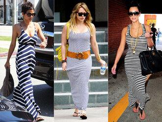 dress striped dress maxi dress celebrity style celebrity kim kardashian