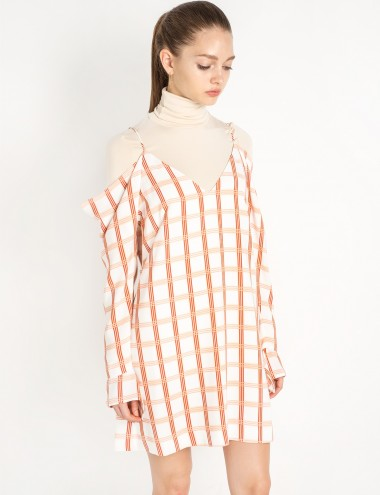 Cold Shoulder Check Dress by Cameo