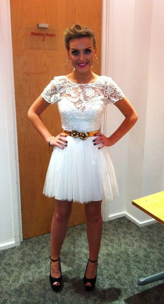dress white lace white dress white lace dress little mix love her this perrie edwards zayn malik one direction prom dress summer dress clothes shoes little white dress lace dress