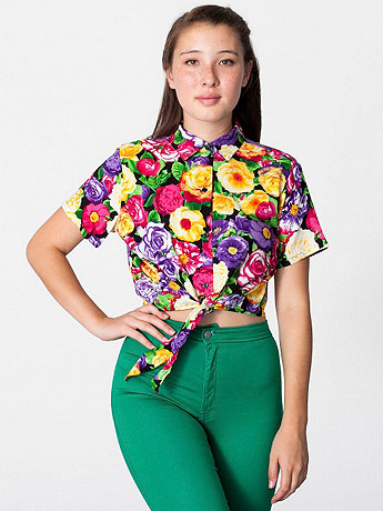 Floral Printed Rayon Mid-Length Tie-Up Blouse | American Apparel
