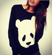 sweater,black,white,black and white,panda