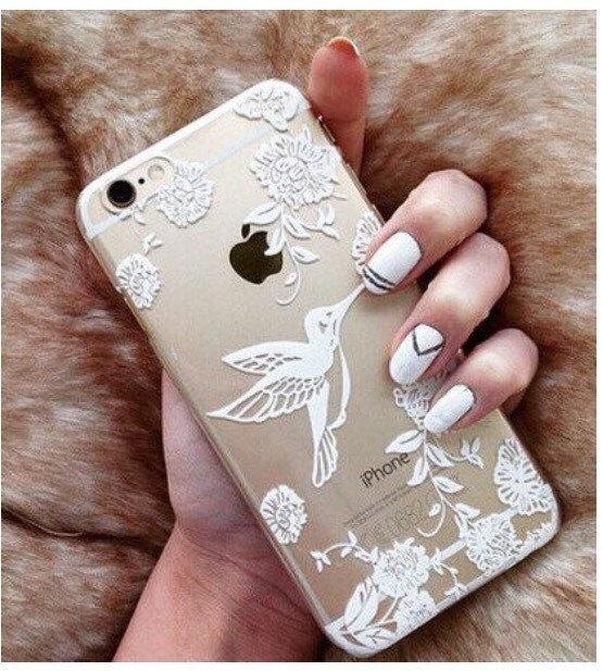 ... Henna Bird Print See Through Clear iPhone 5 5S Hipster Phone Case