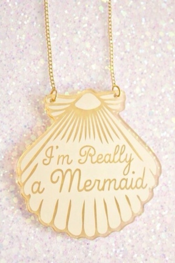 jewels gold necklace mermaid shell