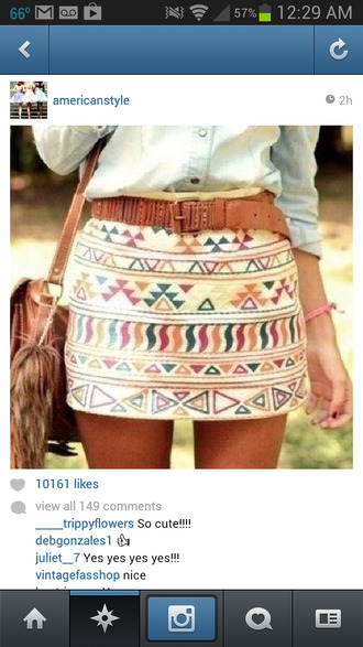 skirt tribal skirt mini skirt tribal pattern colorful