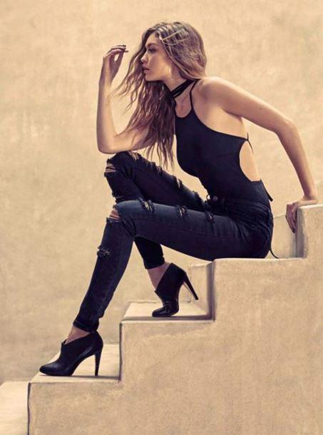jeans ripped jeans editorial gigi hadid model top bodysuit swimwear