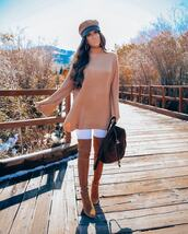 sweater,tunic,knitwear,white pants,skinny pants,thigh high boots,suede boots,backpack,hat,hoop earrings