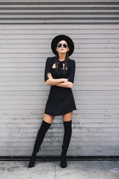 we wore what,blogger,dress,shoes,pointed boots,all black everything,christmas dress,three-quarter sleeves,hat,black hat,mini dress,black dress,cut-out dress,over the knee boots,black boots,aviator sunglasses,sunglasses,high heels boots,bachelorette party outfits