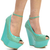 shoes,wedges,mint,peep toe wedges,spring outfits,fashion statement,two tone greens,summer,strappy wedge,faux leather