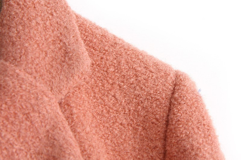 Pink Lapel Long Sleeve Simple Design Woolen Coat - Sheinside.com