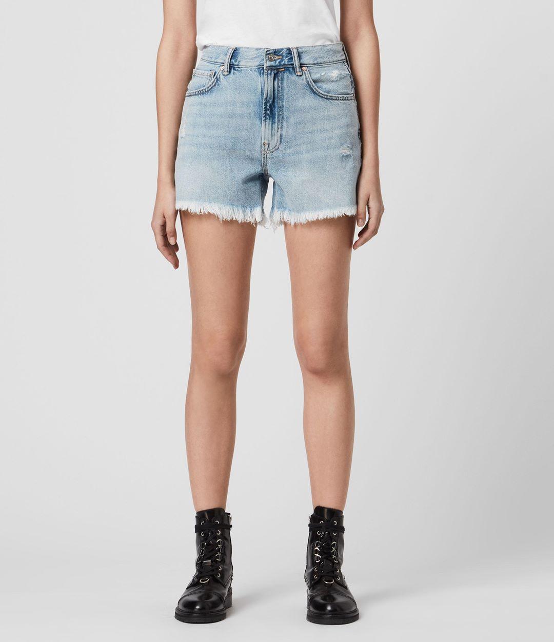 AllSaints Women's Cotton Relaxed Fit Yanni Denim Shorts, Blue, Size: 32