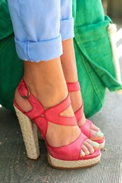 shoes,espedrille,strappy,sandals,pink,heels,high,pretty,colorful,skinny jeans,rose,paille,chaussures talons hauts,high heels,pinterest,coral shoes,buckle shoes,style,fashion