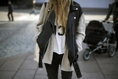 jacket,outfit,clothes,leather,wool,style,hipster,blogger,t-shirt,blonde hair,cardigan,.,black,vest,biker,biker jacket,leather jacket,perfecto,coat,studs,silver,sleeveless,white,girly,whewre to get kimono?,casual,cara delevingne,oversized sweater,sweater,jeans,grey cardigan,white shirt,jewels,leather vest,chik,fashion,streetstyle,street,leatherjacet