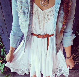 dress clothes cute dress white dress little white dress white belt leather belt jean vest denim vest denim jewels jewelry necklace strass silver cute jacket white lace dress lace summer denim jacket lace top dress short white bohemian  s