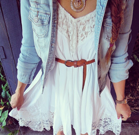 dress white lace white dress summer outfits lace top dress necklace cute denim jacket cute dress clothes little white dress Belt leather belt vest denim jacket denim vest denim jewels strass silver jacket white lace dress white