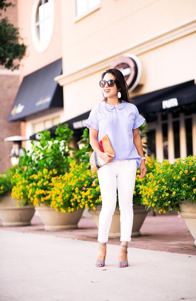 cute & little blogger top blouse jeans shoes bag