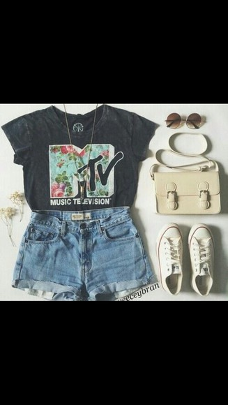floral t-shirt mtv classic