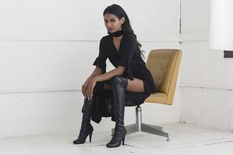 tuolomee blogger slit dress black boots