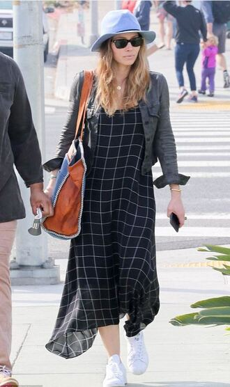 dress midi dress jessica biel plaid sneakers