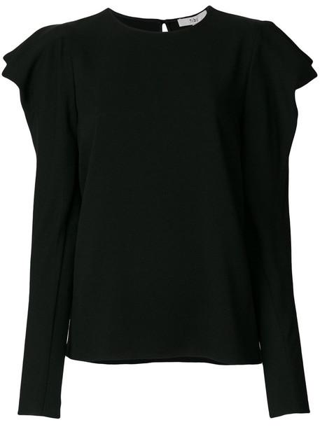 Tibi - Savanna draped shoulder top - women - Polyester/Spandex/Elastane/Triacetate - 4, Black, Polyester/Spandex/Elastane/Triacetate