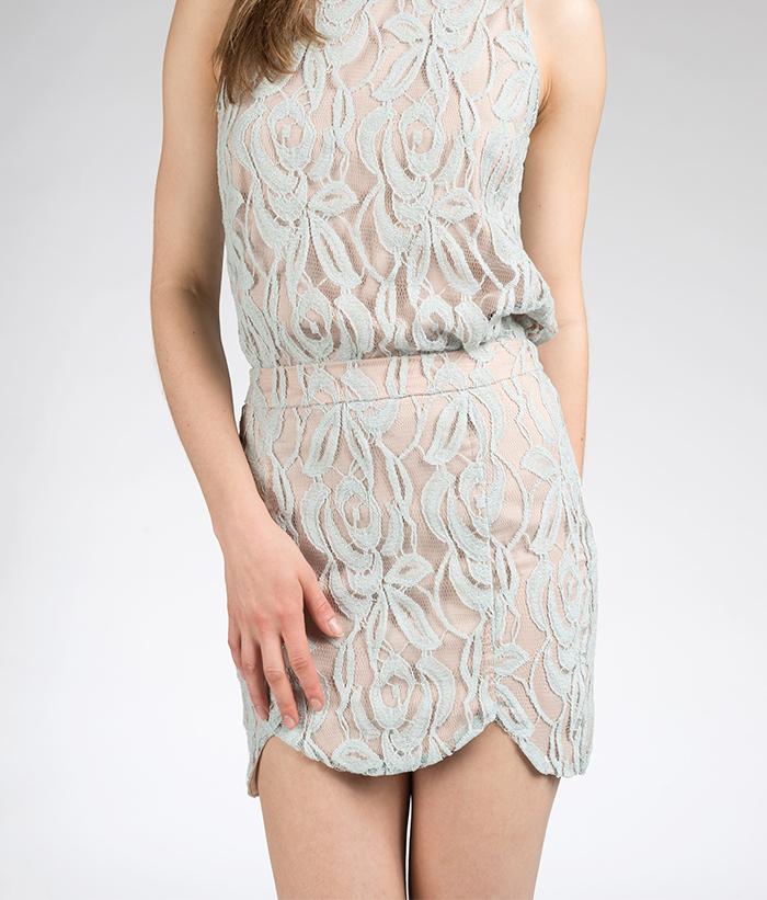 Scallop Skirt -- Seafoam Lace