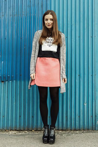 iemmafashion blogger skirt cardigan coral