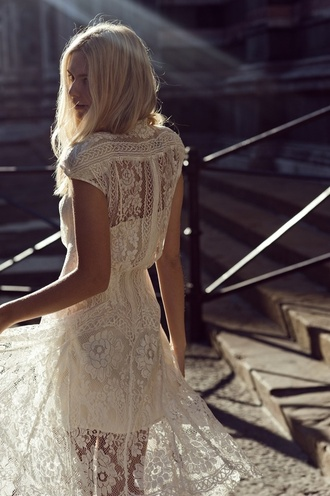 dress white dress lace dress lace cream clothes pretty floral white long fabric tumblr boho high-low dresses spring dress summer dress short sleeve crochet