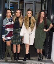 dress,wrap dress,skirt,boots,perrie edwards,jesy nelson,leigh-anne pinnock,jade thirlwall,little mix,coat,olive green,midi dress
