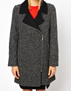 Oasis | Oasis Salt And Pepper Biker Coat at ASOS