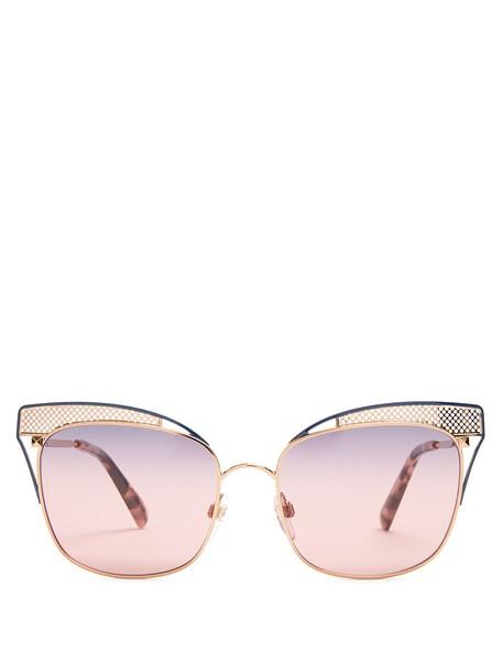 VALENTINO Cat-eye metal sunglasses in blue / multi