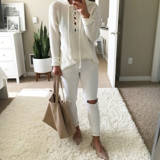 crystalin marie blogger t-shirt cardigan leggings bag shoes sweater jeans lace up skinny jeans ripped jeans white jeans beige nude lace up flats