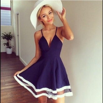 dress plunge neckline navy dress hat