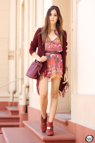 fashion coolture blogger burgundy knitted cardigan romper dress cardigan bag jewels shoes
