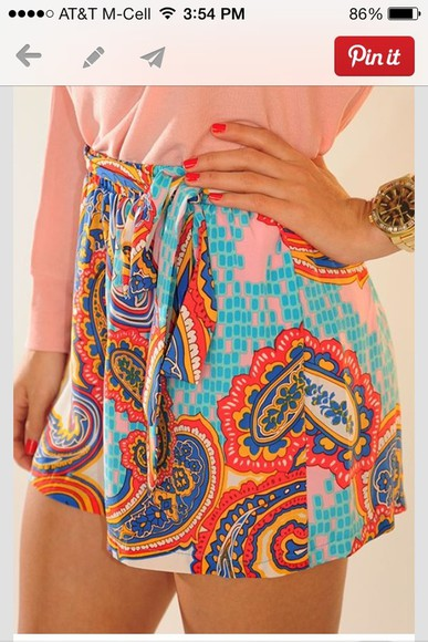 shorts high waisted short summer cute paisley shorts cute shorts