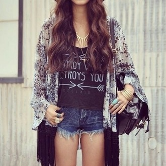 blouse black and white blouse kimono golden necklace arrows destroy what destroys you t-shirt