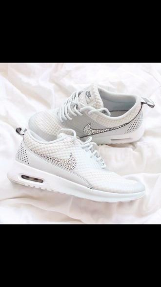 shoes nike air max thea white nike airmax nike free run white rhinestones nike air max 90 air max swarovski white sneakers nike white diamonds